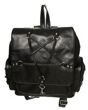 Banned Pentagram Star Occult Faux Leather School Backpack Rucksack A4 Waterproof