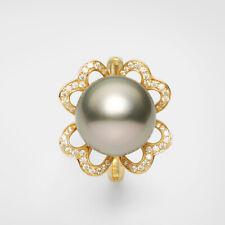 14K Yellow Gold,12.5mm Tahitian Saltwater Cultured Pearl Ring,7#