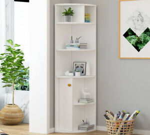 Modern Corner Bookshelf Cupboard Display Cabinet Bookcase Shelving Unit Home UK