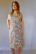 Vintage true 60s unused 20 3XL cotton plus size shift dress pink green roses