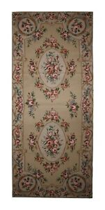 Floral Needlepoint Carpet Handwoven Traditional Wool Runner Area Rug 76x183cm