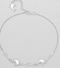 """11mm Dolphin Anklet 4.8g 10"""" Solid Sterling Silver"""