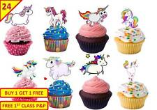 48 UNICORN Cup Cake Wafer Toppers Decorations Birthday Party Edible STAND UP