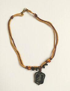 LAST ONE Tribal Hemp Necklace in Tan & Brown, Black Bone Leaf Pendant Wood beads