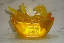 Feng Shui - Dragon and Phoenix on Ingot for Love Luck & Prosperity