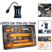12PCS Car Panel Removal Open Pry Tools Kit+1x Air Pump Wedge Auto Dash Door Trim