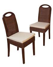 2 Rattanstühle inkl.Sitzkissen Esszimmerstuhl Stuhlgruppe Rattan Stühle Braun