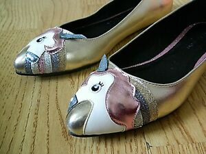 ASOS Loopy Lou Ladies Ballerina Flats Gold with Unicorn Size 4 / 37