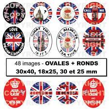 48 Images digitales POUR cabochon Londres London Angleterre OVALES ROND rouge