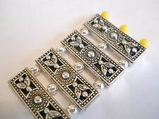 10 - 2/3 HOLES SILVER PLATED SLIDER SPACER BEADS BARS BALI TIBETAN BRACELET