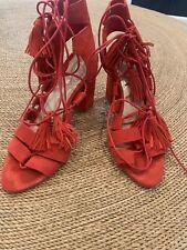 Loeffler randall Red Suede Tassel Heels Size 7
