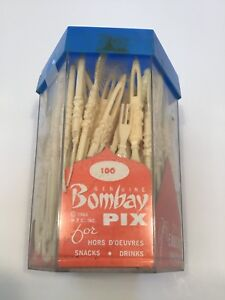 VINTAGE 1964 BOMBAY PIX HORS D'OEUVRES FORKS DRINK STIRS NEW UNUSED IN BOX