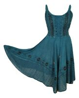 Midi Boho Summer Dress Embroidered Corset Fit & Flare Blue One Size 8 10 12 14