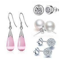 Set of 4 Earring Set Ear Studs Dangle Drop Pearl Shamballa Cubic Zirconia
