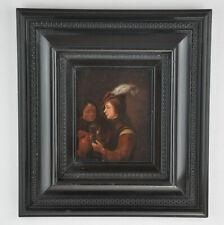 Öl auf Leinwand, 2 Männer beim Weintrinken, 33 x 31 cm, 18./19.Jh.