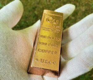 1 Pound .999 Fine Copper Bullion Bar RARE INGOT FORM Invest in Precious Metal