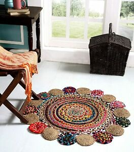 Round Indien Jute & Cotton Braided Durry Rug Mat Carpet with Fringes 3 x 3 ft