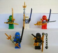5x Lego Figuren Ninjago Lloyd Zane Kai Jay Cole Waffen Helm Neu Ninja Figur
