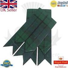 Men's Scottish Kilt Hose Sock Flashes Black Watch Tartan Garter Pointed/Highland