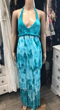 Young Fabulous and Broke Size XS Turquoise Tie Dye Halter Tiered Long Maxi Dress