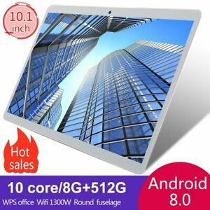 10.1 in 8+512GB WiFi Game Tablet PC HD IPS Screen GPS Dual Camera PC Computer US