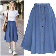 da9e132a4b58 Women Button Denim Jeans Swing Skirt Ladies Elastic High Waist Casual Midi  Skirt