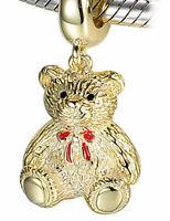 Teddy Bear Charm - 925 Silver 18k Gold Plated I Love You Mum Nan Sister Daughter