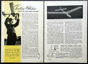 """Towline Glider 33"""" wingspan 1943 How-To build PLANS Balsa or Pine construction"""