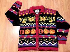 HALLOWEEN Cardigan Sweater Pumpkins Candy Corns BOO  TIARA 1998