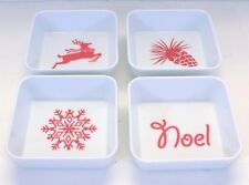 """MC Gallery Reindeer Dipping Dishes, Set of 4 Hard Plastic, 3 3/4"""" x 3 3/4"""""""