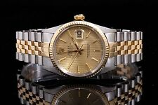 Rolex Steel & Yellow Gold Datejust 16013, Champagne Tapestry Stick Dial w/ Paper