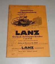 Betriebsanleitung Lanz Oelbad Schlepperbinder 7 / 8 Fuß rechts-/ linksschneidend