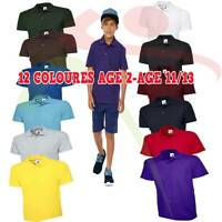 Kids Polo Shirt Childrens School Top PE Tee T Boys Girls Classic Poloshirt