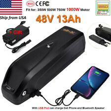 48V 13Ah Lithium Electric Bike Battery Pack w/ USB + Charger for Max 1000W Motor