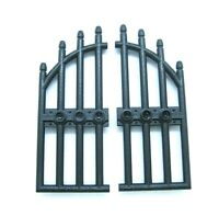 LEGO Castle Lot of 2 BLACK Wrought Iron Gate w/ Arched Bars 1x4x9  part 42448