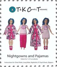 Sewing Pattern for Curvy Barbie Fashionista Doll Clothes by TKCT Pajamas Robe