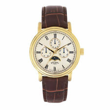 "Rotary - New Men's Champagne Dial moon phase window watch "" Lifetime Guarantee """