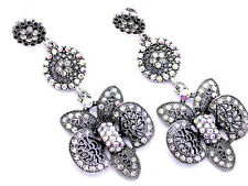 New Large Statement Filigree AB Crystal Orchid Flower Chandlier Drop Earring