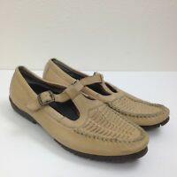 Women's HUSH PUPPIES Beige Tan Leather Mary Jane Loafers Comfort Shoes Size 8M