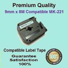 3x Compatible P-Touch Thermal Tape for Brother M-K221 Black on White 9mm x 8m