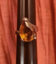 Ring Jewelry Statement Costume Fashion Large Orange Amber Teardrop Silver Tone