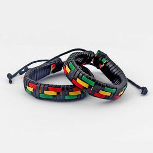 1 x Rasta PU Leather Braided Surfer Wristband Wrap Bracelet Bangle Jewellery