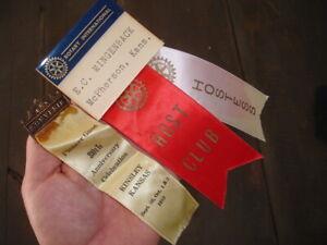 old McPherson County Kansas KINSLEY KS Pioneer Guest souvenir Ribbon +ROTARY INT