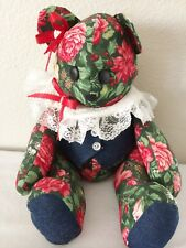 "15"" Vintage Jointed Floral Fabric Teddy Bear with Ribbon and Lace Button Eyes HM"
