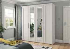LUXURY GERMAN MOBEL 2 3 4 5 6 DOOR WARDROBE BEDROOM SHAKER WHITE SILVER FITTED