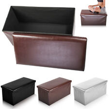 Nice Large 2 Seater Ottoman Storage Box Faux Leather Folding Pouffe Seat Stool
