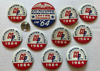 TWELVE Vintage 1964 Barry Goldwater For President CAMPAIGN PINBACK BUTTONS