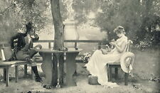 Antique Old MARCUS STONE Victorian Art Print c19th Love Sweethearts Lady Sewing