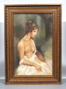 Large Vintage French or Italian Oil Painting, Nude Woman, Signed G. Muscio, 1981
