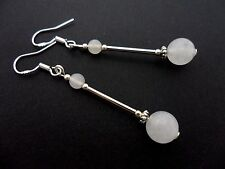 A PAIR OF OPAQUE WHITE JADE BEAD  EARRINGS WITH 925 SOLID SILVER HOOKS. NEW..